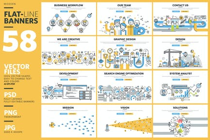 Kit de Banners de Línea Plana para Diseño de Página web