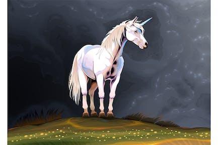 Unicorn Alone in Nature