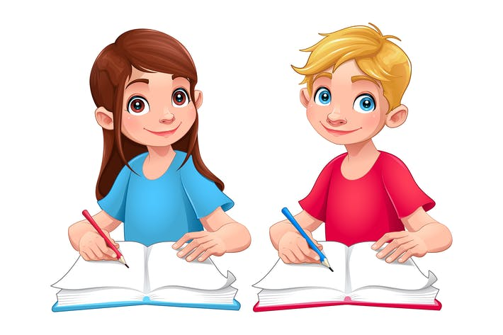 Thumbnail for Young Students Boy and Girl with Books and Pencils