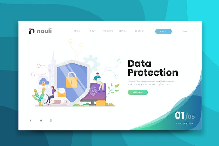 Thumbnail for Data Protection Web PSD and AI Vector Template