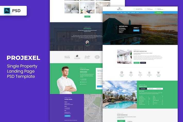 Thumbnail for Single Property - Landing Page PSD Template-02