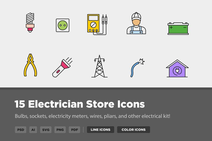 15 Electrician Icons