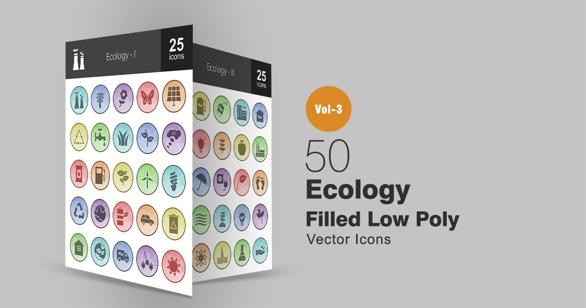 Download 50 Ecology Filled Low Poly Icons by IconBunny