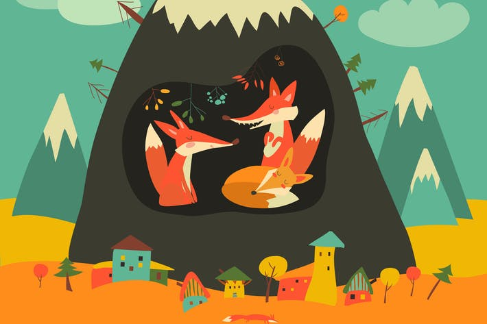 Thumbnail for Cute village by the mountain with foxes
