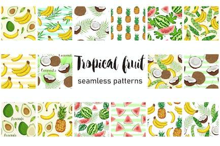 Tropical Fruit Seamless Patterns