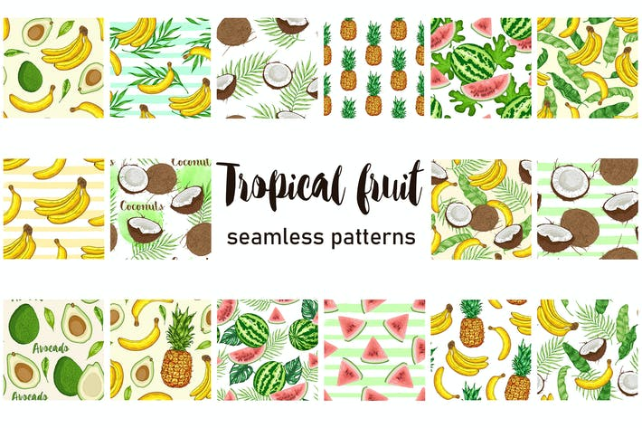Cover Image For Tropical Fruit Seamless Patterns
