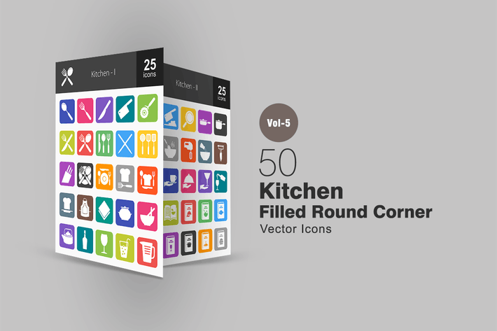 Cover Image For 50 Kitchen Flat Round Corner Icons