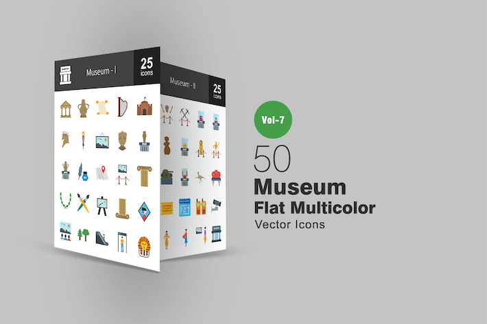 Thumbnail for 50 Museum Flat Multicolor Icons