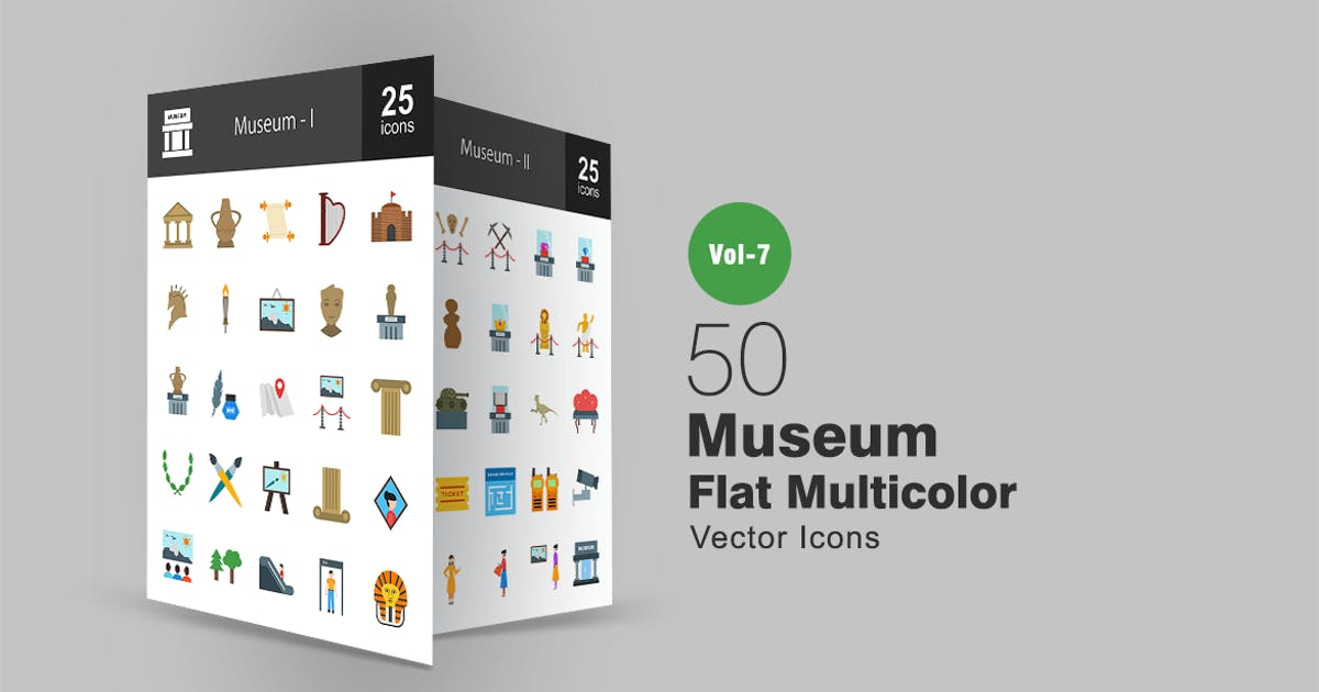 Download 50 Museum Flat Multicolor Icons by IconBunny