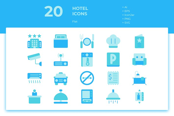 Thumbnail for 20 Hotel Icons (Flat)