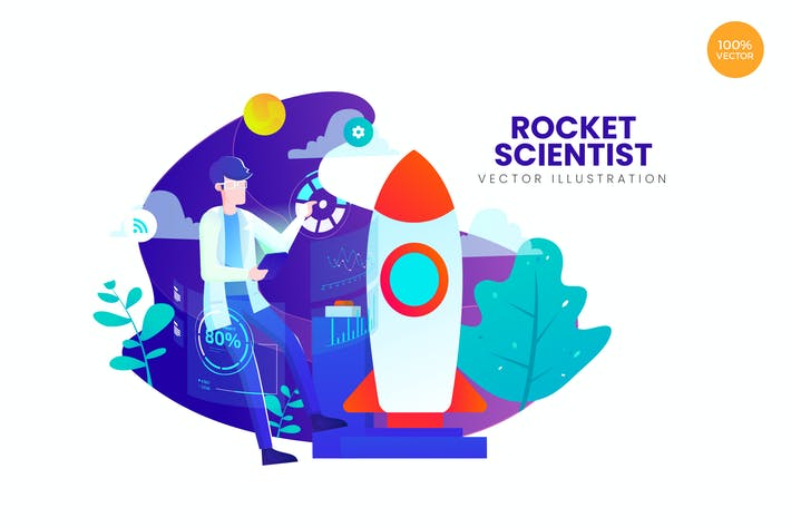 Thumbnail for Rocket Scientist Vector Illustration Concept