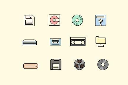 12 Retro Storage Icons