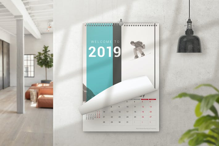 Thumbnail for Wall Spiral Calendar Mockups
