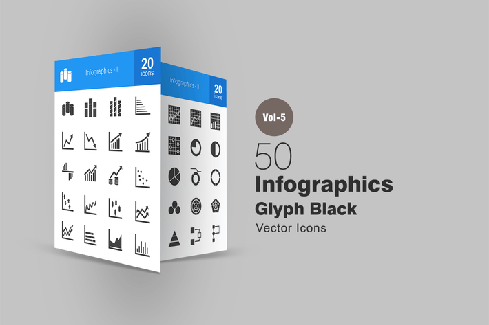 40 Infographics Line Green & Black Icons by IconBunny on