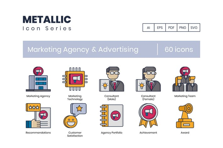 Thumbnail for 60 Marketing Agency & Advertising Line Icons