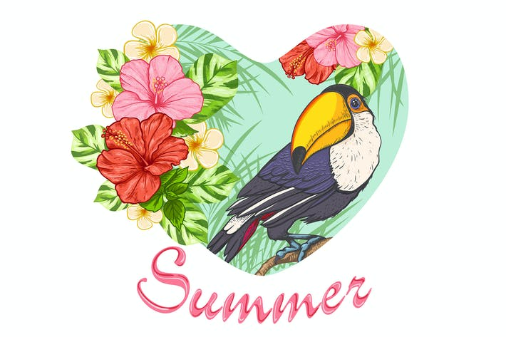 Thumbnail for Tropical Flowers and Toucan