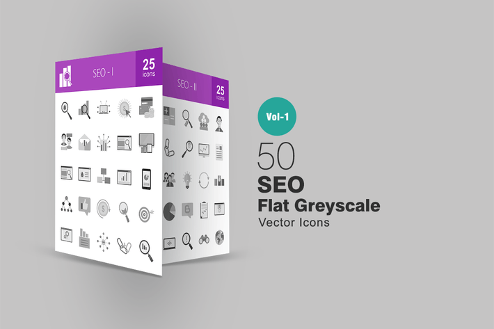 Thumbnail for 50 SEO Greyscale Icons