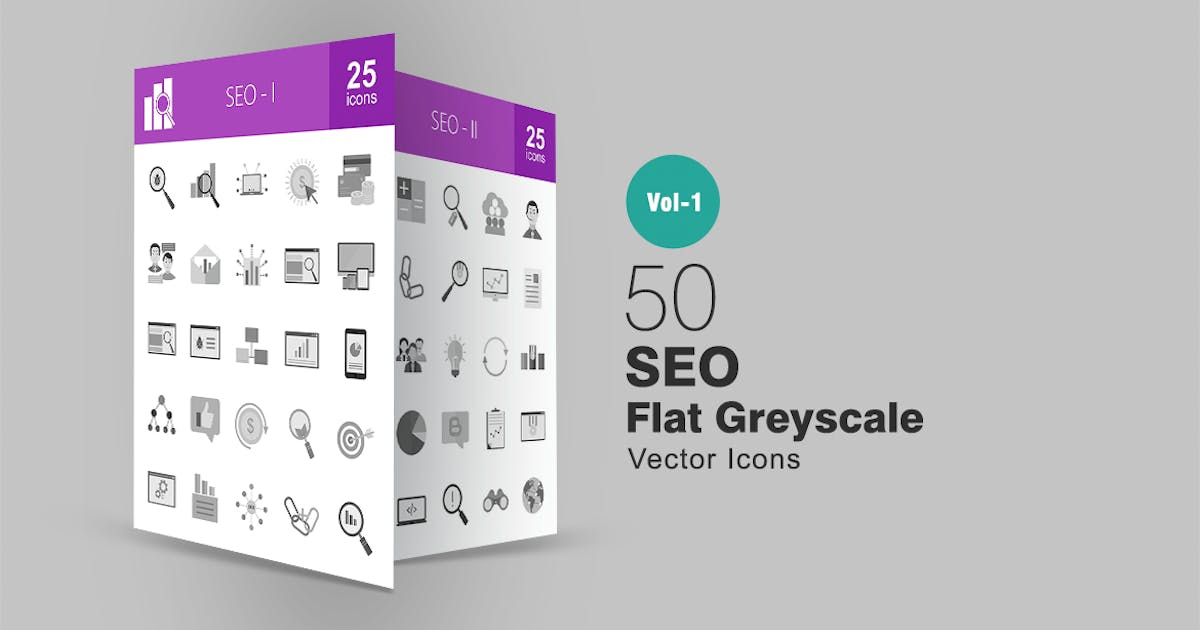 Download 50 SEO Greyscale Icons by IconBunny