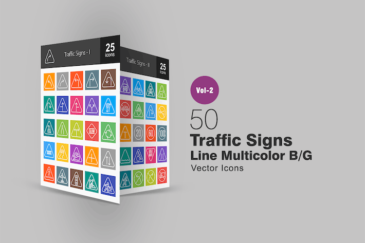 50 Traffic Signs Line Multicolor Icons