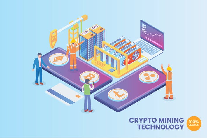 Thumbnail for Isometric Crypto Mining Technology Vector Concept