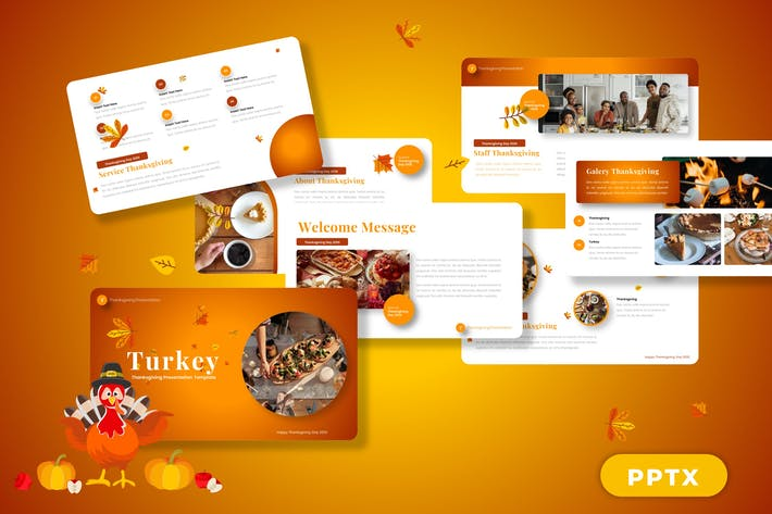 Thumbnail for Turkey - Happy Thanksgiving Powerpoint Templates