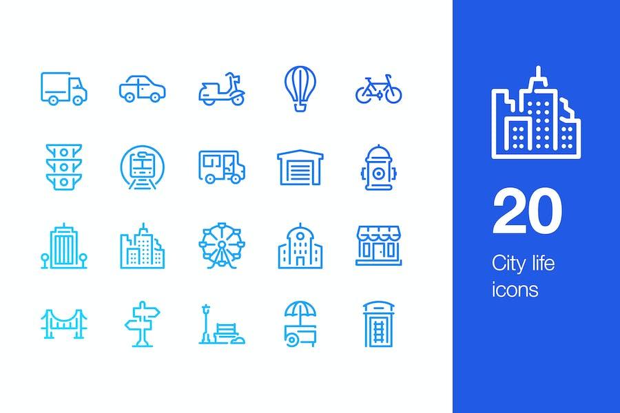 20 City life icons