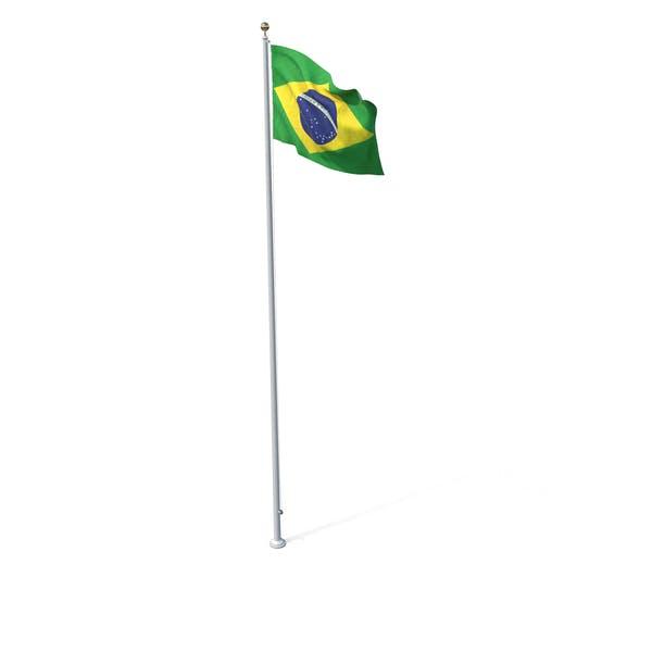Flag On Pole Brazil