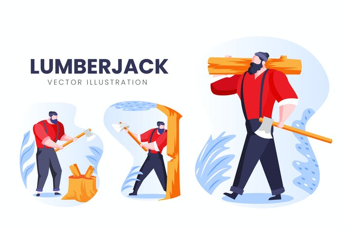 Thumbnail for Lumberjack Vector Character Set