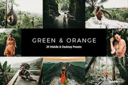 20 зеленых и оранжевых пресетов и LUT Lightroom