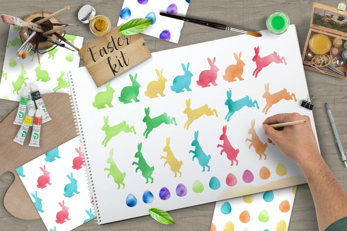 Thumbnail for Watercolor Vector Easter Design Kit