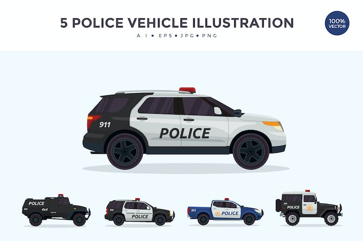 Thumbnail for 5 Police Vehicle Vector Illustration Set