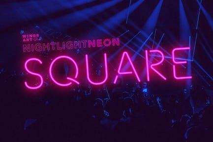 Retro Neon Font - Square Style