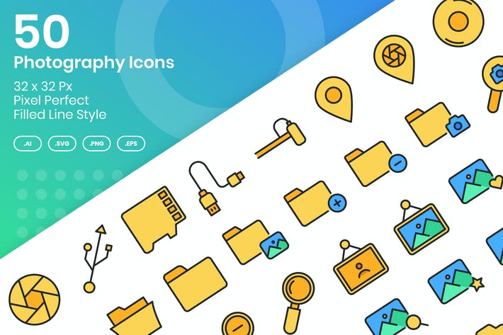 Thumbnail for 50 Photography Icons Set Vol 1 - Filled Line