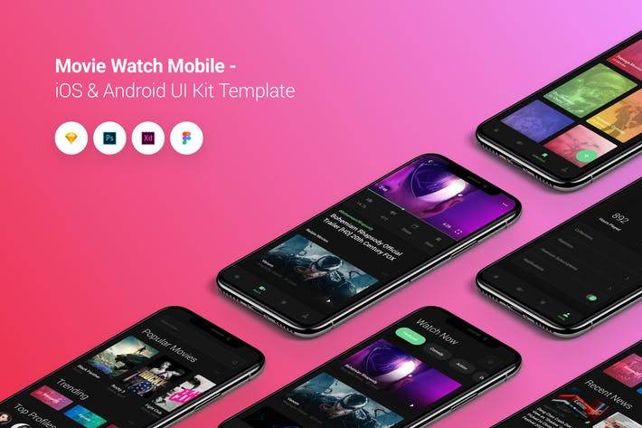 Thumbnail for Movie Watch Mobile iOS & Android UI Kit Template