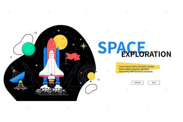 Thumbnail for Weltraumforschung - flaches Design Stil WebBanner