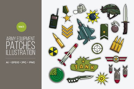 Army Equipment Patches Vektor Vol.1