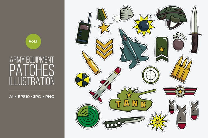 Thumbnail for Army Equipment Patches Vector Vol.1