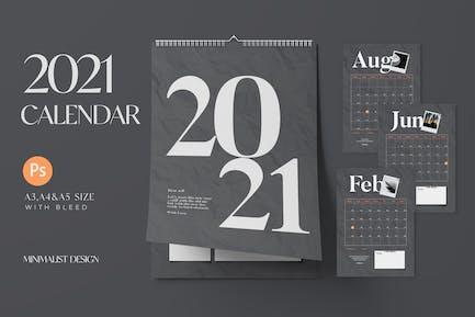 2021 Calender Minimalist Black - A3, A4, A5