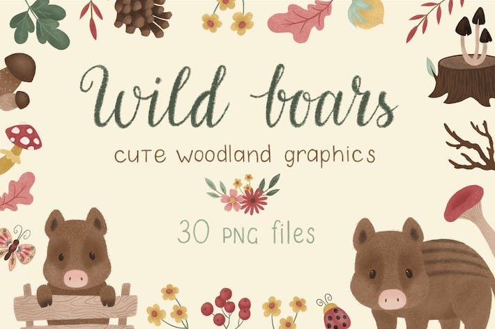 Thumbnail for Wild Boars Woodland Graphics