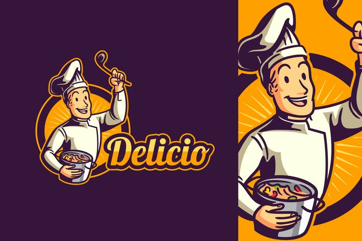 Thumbnail for Cartoon Retro Vintage Cook or Chef Mascot Logo