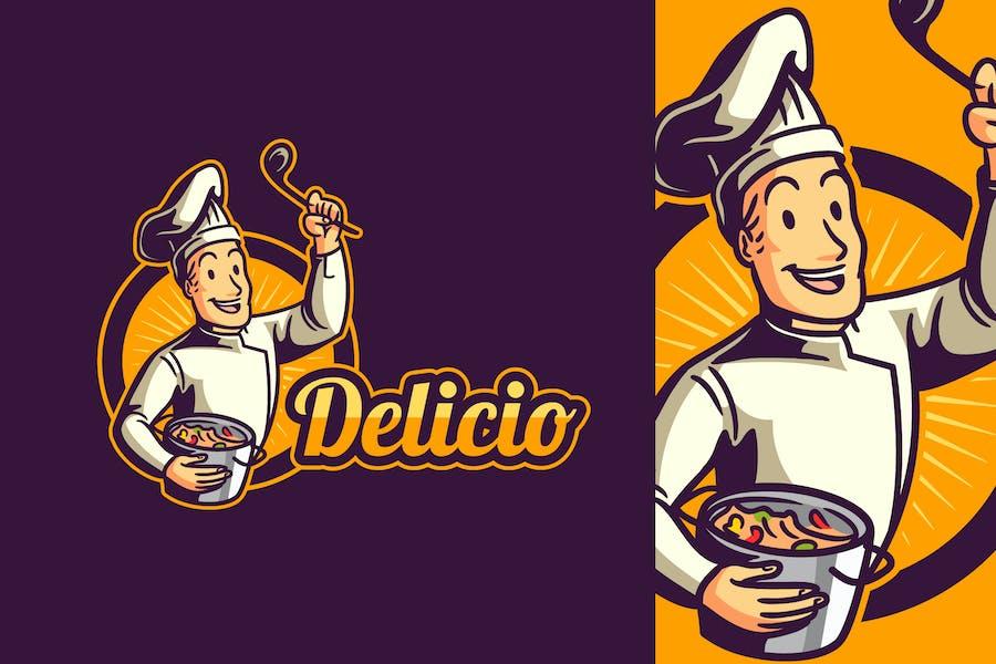 Cartoon Retro Vintage Cook or Chef Mascot Logo