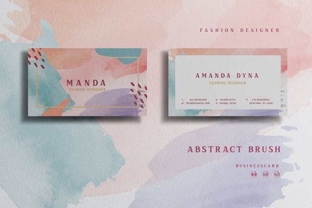 Abstract Watercolor Fashion Designer -Businesscard