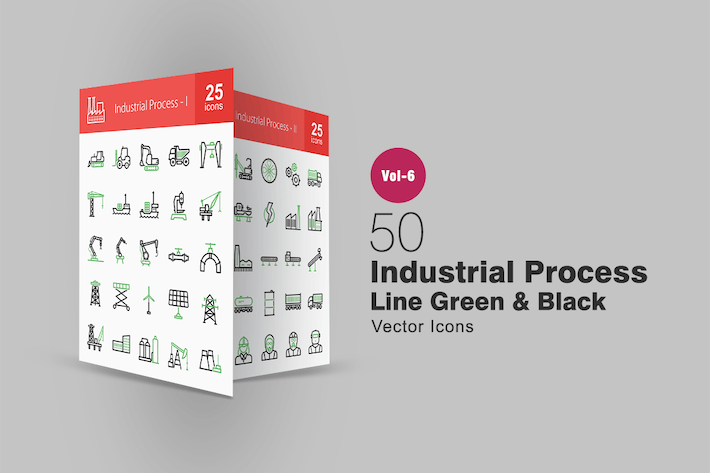Thumbnail for 50 Industrial Process Green & Black Line Icons