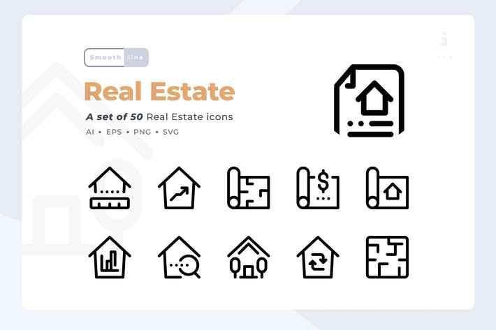 Thumbnail for Smoothline - 50 Real Estate icon set