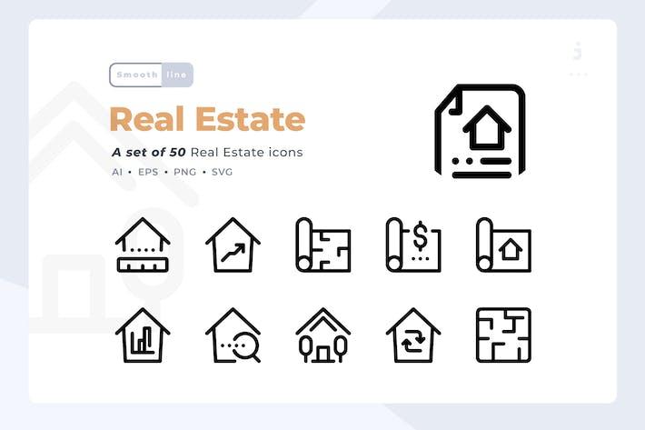 Thumbnail for Smoothline - 50 Kit de iconos de bienes raíces