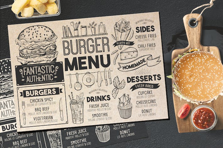 Thumbnail for Burger Food Menu Template
