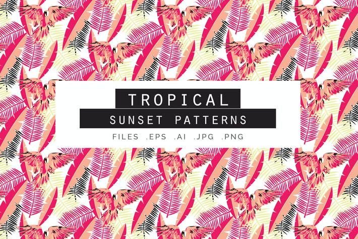 Thumbnail for Tropical Sunset Seamless Vector Patterns