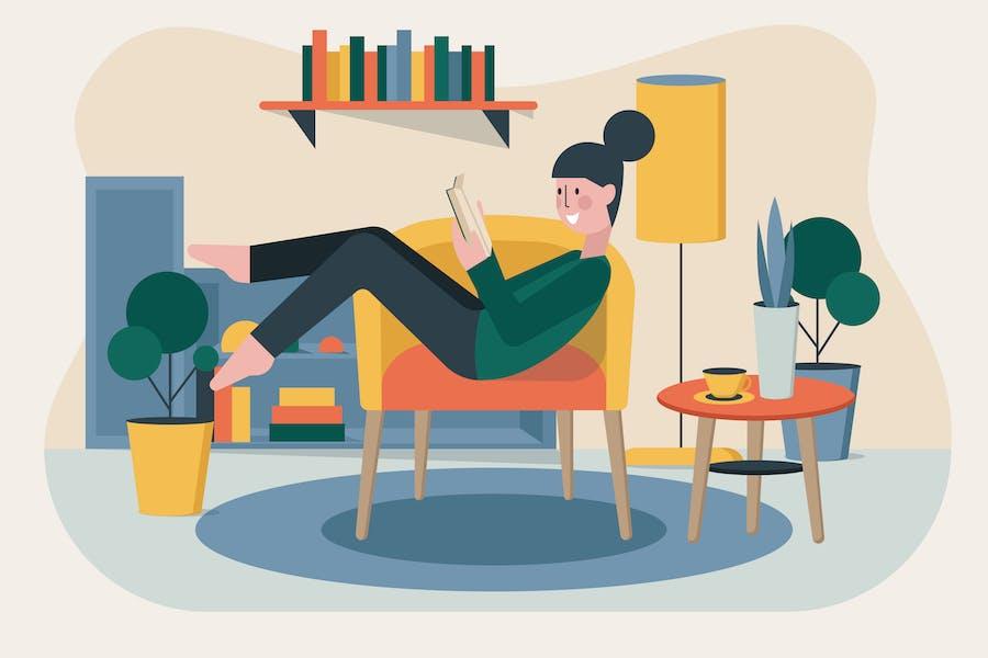 Женщина читает иллюстрацию книги