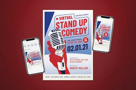 Virtual Stand-up Comedy Flyer Set