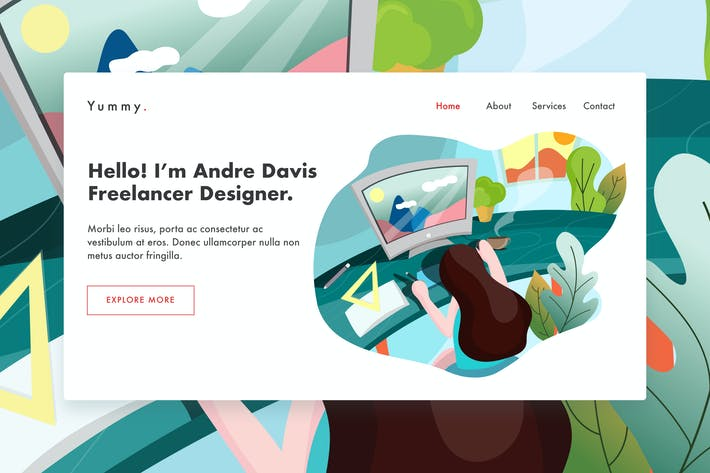Thumbnail for Graphic designer web template for Landing page